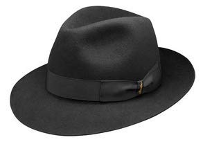 Borsalino Classic Fedora Hat - Black - 57 (Borsalino Fedora Hats For Men)