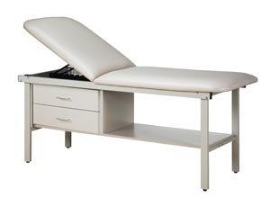 - Pro Advantage P273227 Straight Line Treatment Table, All Steel Frame Laminated Shelf, 2 Drawers, Steel Sides & Adjustable Backrest, Paper Dispenser Included, Dove Grey Color, Length 72