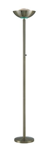 - Lite Source LS-80910AB Floor Lamp with Antique Brass Metal Shades, 72