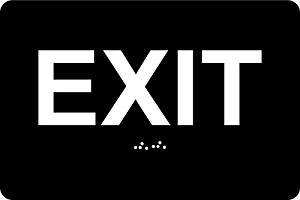 """ADA Exit Sign , 6""""x4"""" , Braille Grade II + 3M double sided tape (Black)"""
