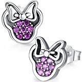Twenty Plus Sparkling Minnie Stud Earrings With Pink CZ for Women Girls Fashion Jewelry