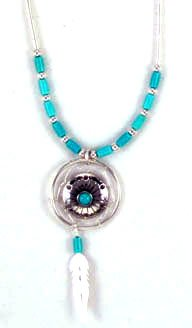Beautiful! Sterling-silver Medicine-Wheel turquoise pendant Liquid silver-necklaces