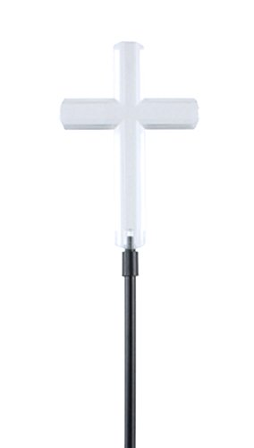 (Moonrays 93243 Solar Stake Light Made of Clear Plastic with White LED Light, Cross Design, Eco Friendly, Automatic Light, Beautiful Accent for Gardens or Yard, Easy Installation)