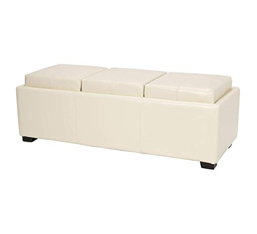 - Wood & Style Furniture Cream Leather Triple Tray Ottoman Home Office Commerial Heavy Duty Strong Décor
