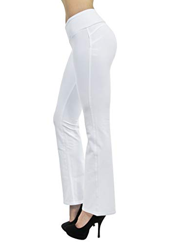 Shaping Pull On Butt Lift Push Up Yoga Pants Stretch French Terry Flare Jeans in White Size ()