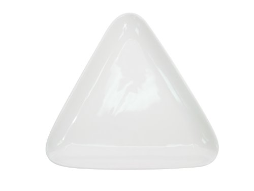 CAC China COP-T21 Coupe 12-7/8-Inch by 11-7/8-Inch Super White Porcelain Triangular Plate, Box of 12 by CAC China