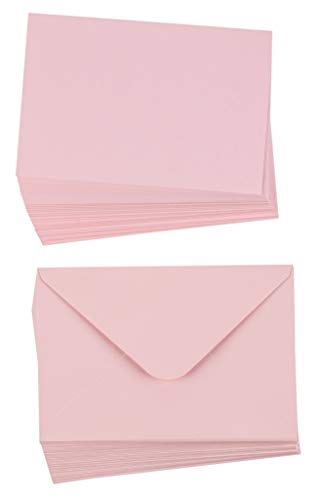 48-Pack Blank Greeting Cards - Plain Cards and Matching Color Envelopes for DIY Holiday Cards, Thank You Cards, Party Invitation, Birthday, Wedding, Blush Pink, 4 x 6 Inches