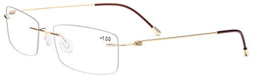 FONEX Rimless Reading Glasses Frame for Men Women Square Presbyopic LH010 (Gold, - Eyeglasses Italian Online Frames