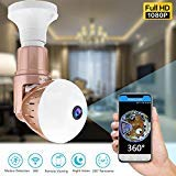 360 Panoramic Bulb WiFi Camera - 1080P Dome Security Surveillance Cameras 180 Degree Rotate Wireless Cam Night Vision Motion Detection Pet Baby Monitor Webcam for Outdoor Indoor (01 Light Bulb -