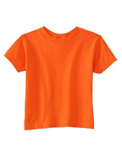 Rabbit Skins 100% Cotton Blank Toddler Football Jersey Tee [Size 7T] Orange Short Sleeve T-Shirt