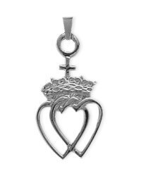 Genuine Sterling Silver Celtic Crowned Heart Pendant with 24 inch (Celtic Crowned Heart Pendant)