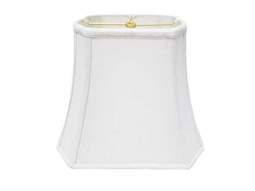 Royal Designs Rectangle Cut Corner Lamp Shade, Linen White,