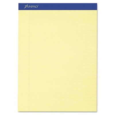 Writing Pad, Legal/Legal Rule, Letter, Canary, 50-Sheets, Perfed, Dozen, Total 6 DZ, Sold as 1 Carton by Ampad