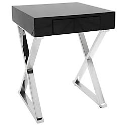 Lumisource Luster Contemporary Side Table, Square, Black/Chrome