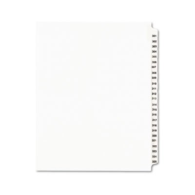 Avery Products - Avery - Avery-Style Legal Side Tab Divider, Title: 301-325, Letter, White, 1 Set - Sold As 1 Set - Rip Proof reinforced, dual-sided, laminated tabs make it -