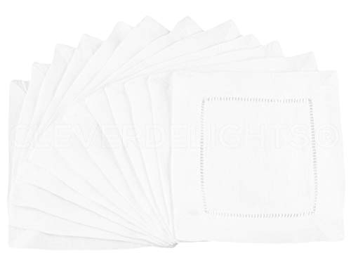 "12 CleverDelights White 100% Cotton Hemstitch Cocktail Napkins - 6"" x 6"" Ladder Hemstitch Cloth Beverage Napkins - 100% Cotton 6 Inch Coaster"