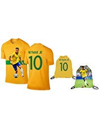 - Neymar Jersey Style T-shirt Kids Neymar Jr Jersey Brazil T-shirt Gift Set Youth Sizes ✓ Premium Quality ✓ ✓ Soccer Backpack Gift Packaging (YM 8-10 Years Old, Neymar)