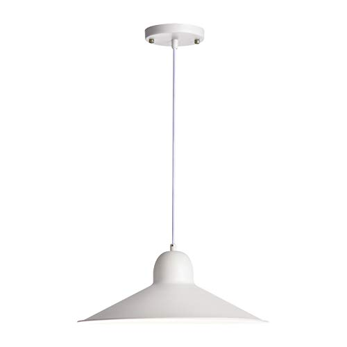 Hyperikon Ceiling Light Fixture Pendant, Large 15-inch White Iron Shade, Hardwired Modern Pendant Lamp, E26 One Light Fixture, Residential, Urban, Industrial, Kitchen – No Bulb Included Ettie