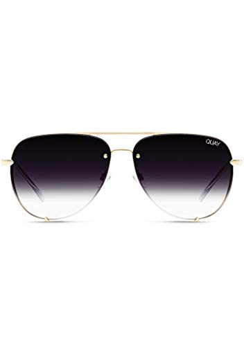 Quay Australia X Desi Perkins HIGH KEY RIMLESS Sunglasses in Gold Fade, Womens, One ()