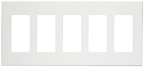 (Leviton 80321-SW 5-Gang Decora Plus Screwless Snap-On Wallplate, White)