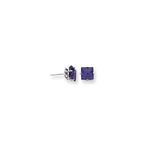Best Designer Jewelry 14k White Gold 7mm Princess Cut Amethyst Earrings