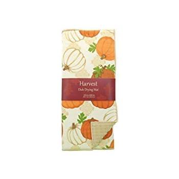 Reversible White and Orange Pumpkins Dish Drying Mat 15 x 20 Kitchen Dish Drying Mat Mainstream