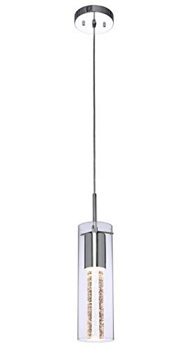 XiNBEi Lighting Pendant Lighting 1 Light Mini Pendant lights with Glass and Bubble Crystal, Modern Chrome Hanging Pendant Light with LED Bulb for Kitchen & Dining Room XB-P1110-CH