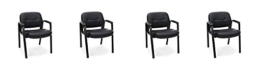 Essentials Leather Executive Side Chair – Guest/Reception Chair, Black (ESS-9010) (4-(Pack))