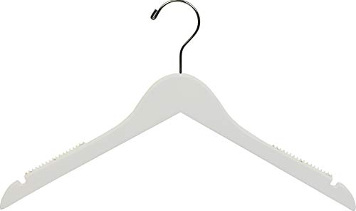 (Petite White Wooden Top Hanger with Non-Slip Shoulder Grips, Space Saving 15.5 Inch Hangers with Chrome Swivel Hook & Notches (Set of 25) by The Great American Hanger Company)