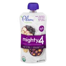6 Pouches of Plum Organics Mighty 4 Blends Apple, Blackberry, Purple Carrot, Greek Yogurt, Oat, Quinoa, 4oz ea