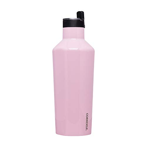 Corkcicle Canteen Sport Collection - Water Bottle & Thermos - Triple Insulated Shatterproof Stainless Steel, 40oz, Gloss Rose Quartz