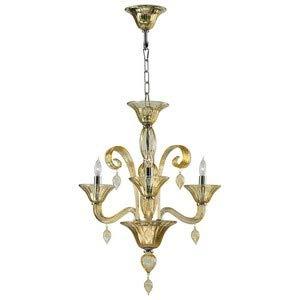 (Cyan Lighting 6493-3-14 Treviso - Three Light Chandelier, Chrome Finish with Amber Murano Glass with Amber Murano)