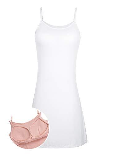 (Womens Sleeveless Long Nightgown Slip Shelf Bra Night Dress Cotton Sleepshirt Chemise White)