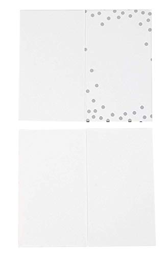 Best Paper Greetings Place Cards - 100-Pack Small Tent Cards with Silver Foil Polka Dots, Foldover Table Placecards, Perfect for Weddings, Banquets, Events, Folded 2 x 3.5 Inches