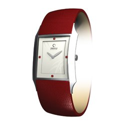 Obaku Women's V107LCIRR Red Leather Quartz Watch with White Dial