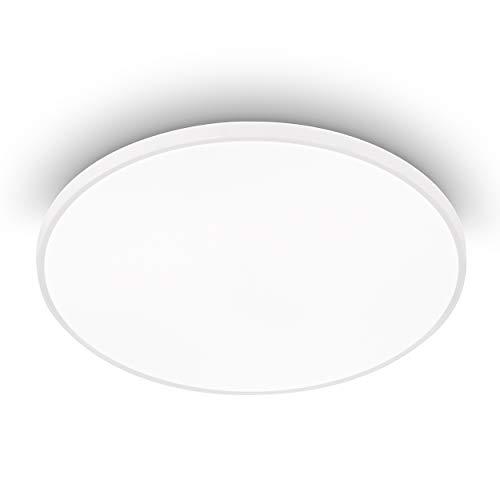 EGLO Lámpara LED de techo Kaoki, 1 foco, lámpara de techo moderna de acero y plástico en blanco, lámpara LED de construcción de color blanco neutro, diámetro 31,5 cm