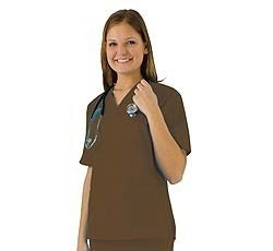 Women's Scrub Set - Medical Scrub Top and Pant, Chocolate, Large (Chocolates For Mothers Day)