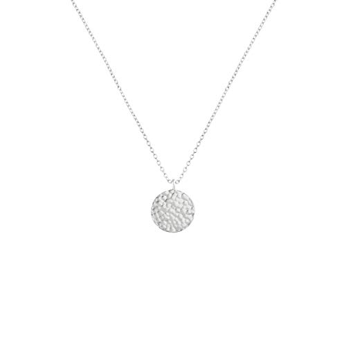 Fettero Necklace for Women Dainty Handmade Hammered Sterling Silver Plated Carved New Circle Full Round Wafer Waning Waxing Moon Phase Pendant Chain Minimalist Jewelry (Full Moon ()