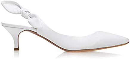Tabitha Simmons 'Rise' Pointed Toe Slingback Kitten Heel with Signature Knot Bow Detail, 50MM Heel