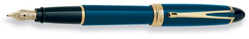Aurora Ipsilon Deluxe Blue w/ Gold Trim Fine Point Fountain Pen - AU-B12B-F