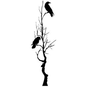 Two crows sitting on a tree, Car Sticker Wall Art Vinyl Sticker- 30CM