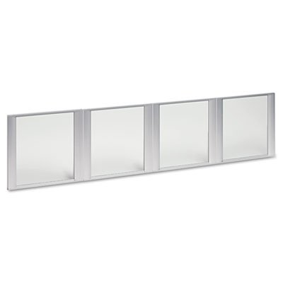 - Glass Door Set with Silver Frame for 72quot; Wide Hutch, Clear, 4 Doors/Set