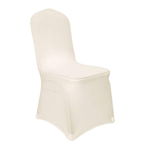 Deconovo Set of 6pcs Chair Covers Cream Chair Covers Spandex Folding Dining Room Chair Covers Set of 6