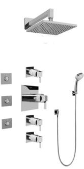 Graff GC1.132A-LM39S-SN Contemporary Square Thermosatic Set w/Body Sprays & Handshower (Rough & Trim