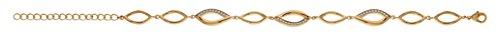 So Chic Bijoux © Bracelet Femme Longueur Réglable: 17 à 21 cm Vagues Serties Oxyde de Zirconium Blanc Plaqué Or 750