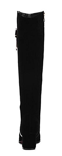 Zipper Boots Solid CHFSO Mid Chunky Knee Womens Decoration Round Heel Toe Stylish Knight Black Metal Uw0wO