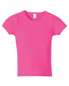 Anvil 1441 Ringspun 1x1 Ribbed Scoop Neck T-Shirt - Pink - X-Small