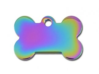 Premium Polished Metal Collection Bone Shape Personalized 2 Side Custom Engraved Pet ID Tags! (Rainbow Gloss, Small (Solid Core Bone)