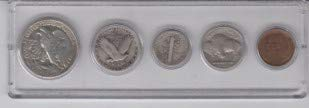 (1929 Birth Year Coin Set (5 Coins) Silver Half Dollar, Silver Quarter, Silver Dime, Nickel, and Dime Displayed in a Plastic Holder Circulated Very Good)