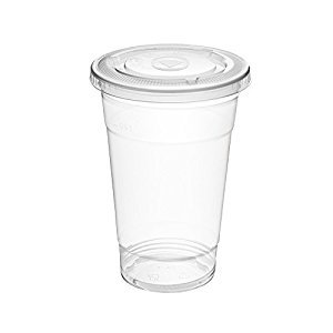 50 Clear PET Disposable to Go Cups with Flat Lids (12 Ounce)